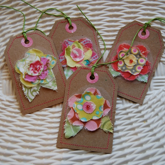 Tags, Gift Tags, Fabric Gift Tags, Sewn Gift Tags, Scrapbooking Tags - Set of 4 Floral
