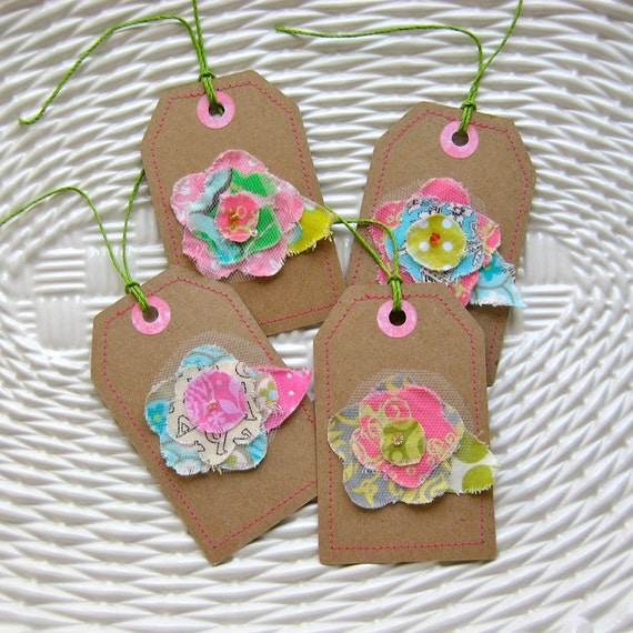 Tags, Gift Tags, Fabric Gift Tags, Sewn Gift Tags, Scrapbooking Tags - Set of 4 Floral 03