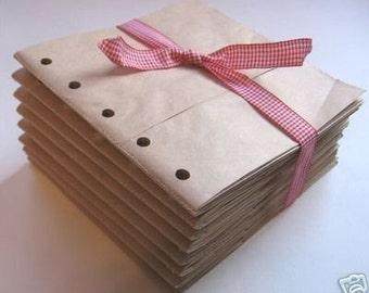 6X6 SEWN paper bag scrapbook albums- 8 BROWN books
