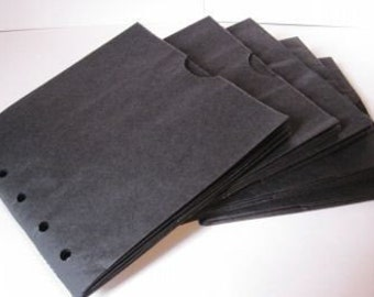 5 BLACK sewn paper bag scrapbook albums