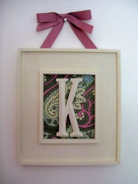 NEW FABRICS Hanging Framed Initial, the perfect, Baby Shower, Housewarming, or Wedding Gift