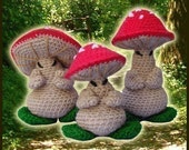 Amigurumi Pattern Crochet 3 Oriental Mushrooms Dolls DIY Instant Digital Download PDF