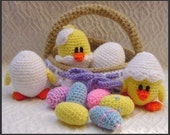 Amigurumi Pattern Crochet Eggs and Chicks in Basket Easter DIY Instant Digital Download PDF