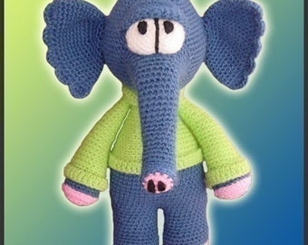 Amigurumi Pattern Crochet Waldo Elephant Doll DIY Instant Digital Download PDF