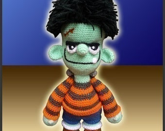 Amigurumi Pattern Crochet Frankie Jr Doll DIY Digital Download