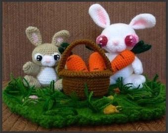 Amigurumi Pattern Crochet Bunny Rabbits and Carrots DIY Digital Download