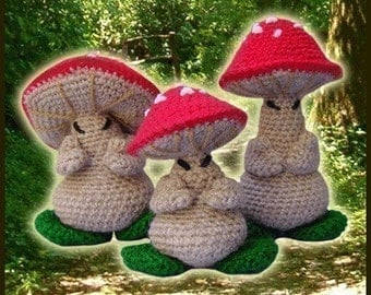 Amigurumi Pattern Crochet 3 Oriental Mushrooms Dolls DIY Digital Download