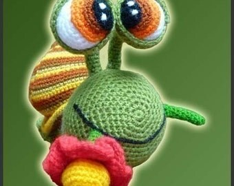 Amigurumi Pattern Crochet Melvin Snail Doll and Flower DIY Instant Digital Download PDF