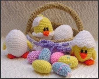 Amigurumi Pattern Crochet Eggs and Chicks in Basket Easter DIY Digital Download