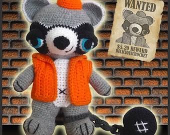 Amigurumi Pattern Crochet Randy Raccoon DIY Instant Digital Download PDF
