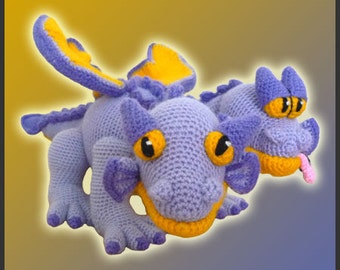 Amigurumi Pattern Crochet Gemini Two-Headed Dragon DIY Digital Download