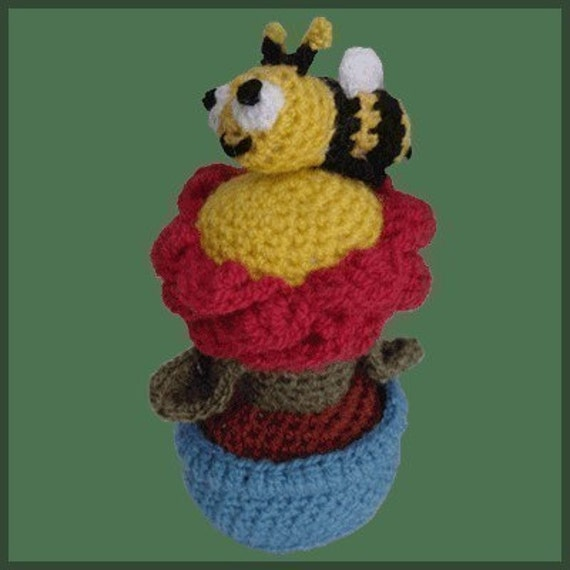 Amigurumi Pattern Crochet Flower Pot and Bee DIY Digital Download