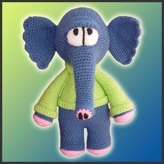 Amigurumi Pattern Crochet Waldo Elephant Doll DIY Instant Digital Download PDF