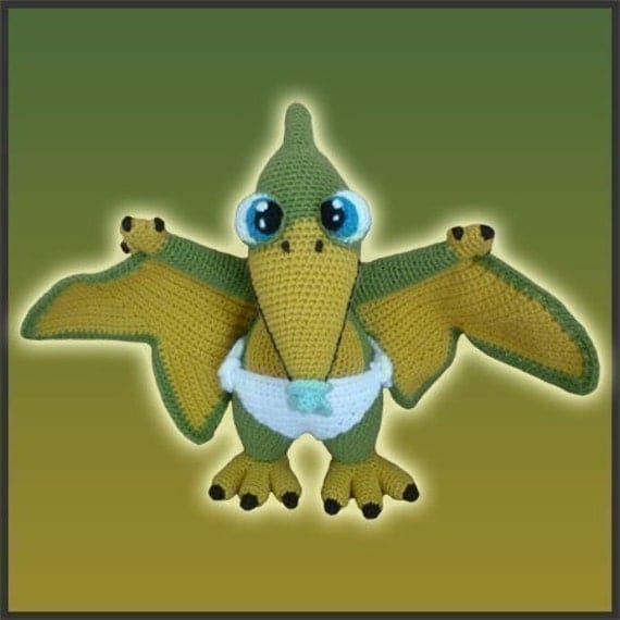 Amigurumi Pattern Crochet Baby Pterosaur Dinosaur DIY Instant Digital Download PDF