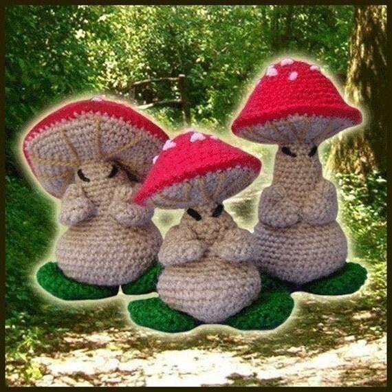Amigurumi Pattern Crochet 3 Oriental Mushrooms Dolls DIY Digital Download