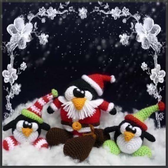 Amigurumi Pattern Crochet Santa Tux Penguin and his Elves DIY Digital Download