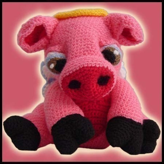 Amigurumi Pattern Crochet Angie Angel Pig Doll DIY Instant Digital Download PDF