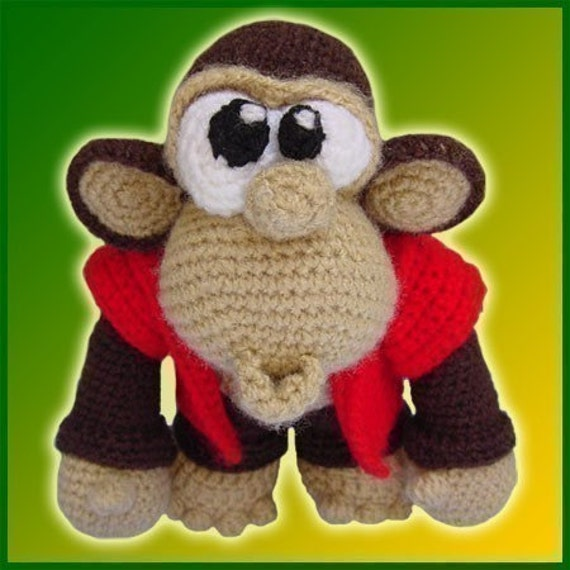 Amigurumi Pattern Crochet Chuck Monkey Chimpanzee Doll DIY Instant Digital Download PDF