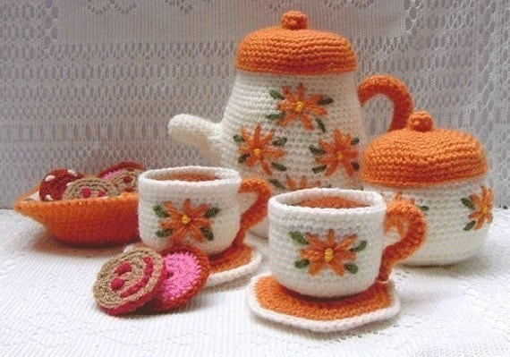 Amigurumi Pattern Crochet Tea Set and Cookies DIY Instant Digital Download PDF
