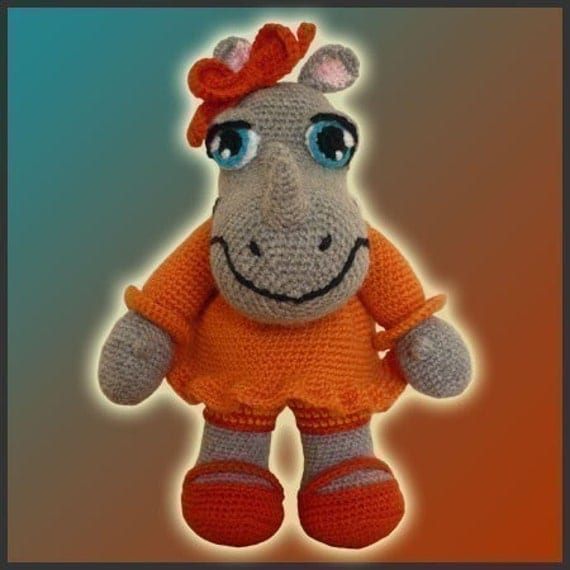 Amigurumi Pattern Crochet Ronnie Rhinoceros Doll DIY Instant Digital Download PDF
