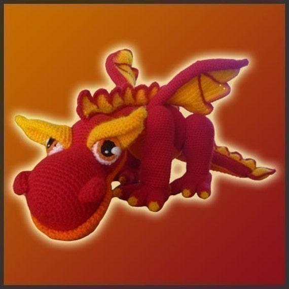 Dragon Rojo Amigurumi : Amigurumi Patron Crochet JJ El Dragon de Fuego