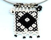 Rustic Jewelry . Black and White Beadwoven Pendant . Beaded Folklore Geometrical Design . Southwestern - Days and Nights by enchantedbeads