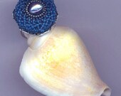 Platinum Plated Ring . Beaded/Beadwoven Filigree Ring . Vintage Royal Blue . Genuine Gray Pearl Ring - Dreamy Blue by enchantedbeads on Etsy