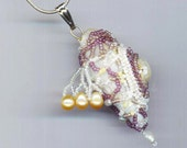 Beaded Shell Pendant . Genuine Pearls . White, Lavender . Statement Pendant .  Nautical - Sea Treasures Series by enchantedbeads on Etsy