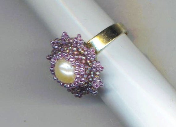 Beaded Ring . Lavender Flower . Size 15 Seed Beads .Genuine Pearl - Purple Dreams by enchantedbeads on Etsy