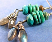 Jewelry Turquoise and Labradorite Earrings Southwest Rustic Oxidized Sterling Silver .....Feather.....