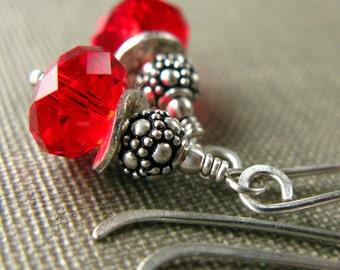 Crystal Earrings, Dangle Earrings, Holiday Earrings, Swarovski Crystal, Swarovski Christmas, Sterling Silver, Drop Earrings