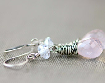 Pink Rose Quartz Earrings Cubic Zirconia Sterling Silver Jewelry Valentine CZ Pastel Fashion Gift - Heavenly