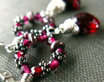 Garnet Wreath Earrings Pearl Wire Wrapped Sterling Silver January Birthstone Valentine .....Cranberry Sauce.....