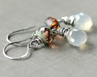 Chalcedony Earrings Oxidized Sterling Silver Wire Wrapped Fall Fashion Czech Glass Brown Gift SugarRococo - Cafe con Leche