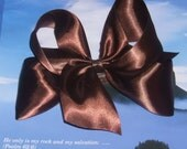 Beautiful Brown Satin BIG 7 inch boutique loopy hair bow clip