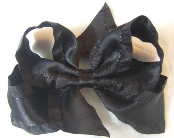 "Toddler Girls 4.5"" Black Ruffle Satin Ribbon boutique Loopy hair bow"