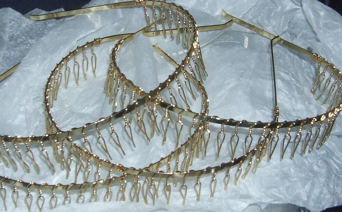 Gold Plated Metal Headbands With Teeth Tiara Style Set Of 2