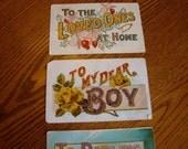 Four Decorative Vintage Words Postcards