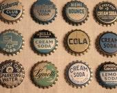 12 Wonderful Vintage Bottle Caps- Blue Aqua Lot