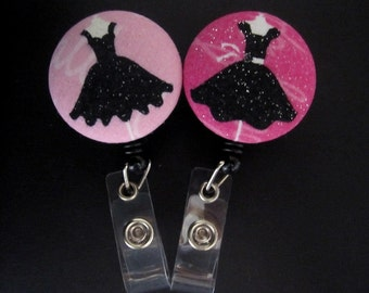 LITTLE BLACK DRESS Fabric and Mylar Covered Retractable Badge Reel