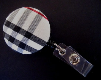 CHECKED Fabric and Mylar Covered Retractable Badge Reel