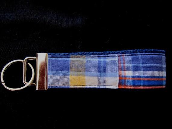 QUIDNET Madras Plaid Wristlet Key Fob