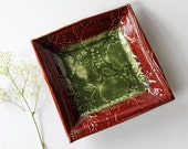 Square Pottery Dish with Floral and Botanical Imprint
