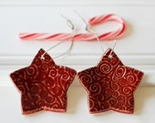 Ceramic Star Ornaments //  Glazed in Red // ready to ship