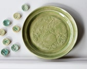 Soft Green Ceramic Plate // Textured Details