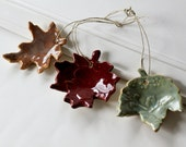 Ceramic Leaves for Decorating or Gift Tags //  Set of Three