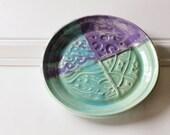 Patchwork Design Ceramic Plate // Textured Details