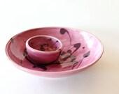 Set of 2 Ceramic Bowls // Wheel Thrown // Honeysuckle Violet