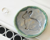 Bunny Stamped Ring Dish // Gray and Green