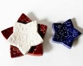 Nesting Ceramic Stars - Red, White and Blue